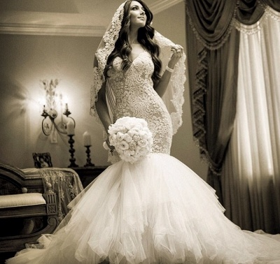 Newest Style Lace Wedding DressSexy Mermaid Tulle Bridal Gowns_3