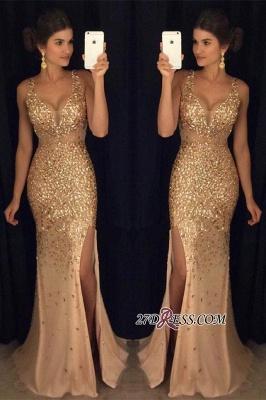 Sleeveless Front-Split Luxury Long Straps Mermaid Crystals Prom Dress UK AP0 sp0229_3