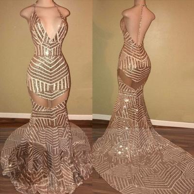 Sequins Halter-Neck Sheer Mermaid Backless Prom Dress UKes UK LY163_4