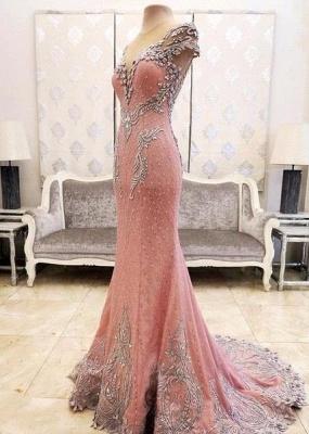 Luxurious Crystal Pink Mermaid Evening Dress UK Zipper Button Back_5