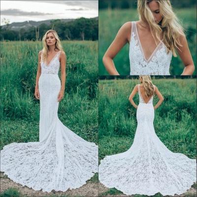 Stunning V-Neck Sleeveless Wedding Dress Full Lace With Train_5