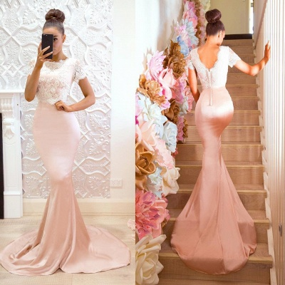 Luxury Short-Sleeve Prom Dress UK | Lace Mermaid Bridesmaid Dress UK On Sale_5