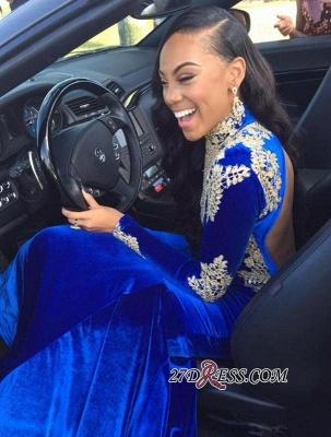 Appliques Sexy Royal-Blue Mermaid High-Neck Long-Sleeves Prom Dress UK BK0_2