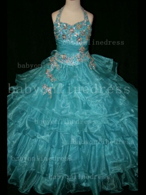 Beaded Cheap Pageant Dresses for Girls Very Online Crystal Organza Floor-length Gowns Stores_5