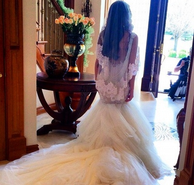 Newest Style Lace Wedding DressSexy Mermaid Tulle Bridal Gowns_2