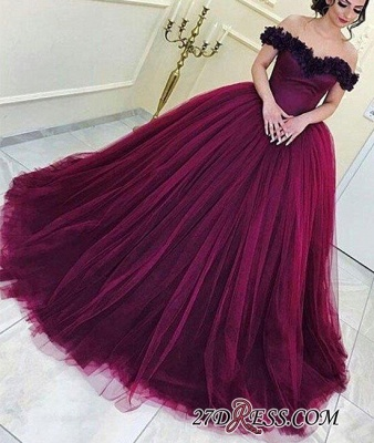 Long Sleeveless Ball-Gown Off-the-Shoulder Tulle Appliques Prom Dress UKes UK_1