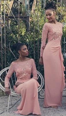 Gorgeous Bateau Long Sleeve Chiffon Bridesmaid Dress UK Floor-length With Sequins_2