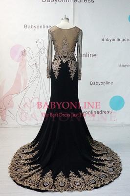 Gorgeous Elegant Black Long Sleeve Appliques Evening Dress UK_2