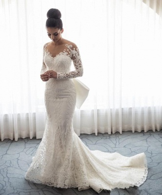 Gorgeous  Sexy Mermaid Lace Wedding Dress with Sleeves | Bowknot Detachable Overskirt Cheap Bride Dress_3