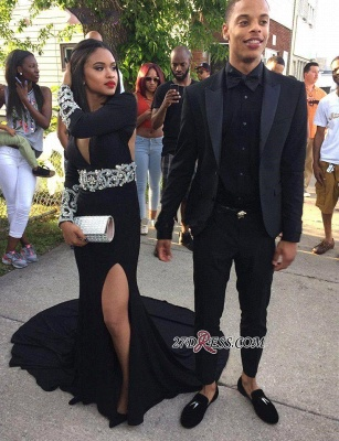 Black Elegant Split Long-Sleeve Crystal V-Neck Prom Dress UK_2