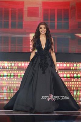 Elegant Sleeveless Black Lace-Appliques V-Neck Evening Dress UK_2