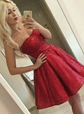 Elegant Red Sequins Homecoming Dress UK   2019 Mini Party Dress UK_1