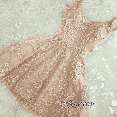 Appliques Spaghetti-Straps A-Line Crystal Sexy Short Homecoming Dress UKes UK_2