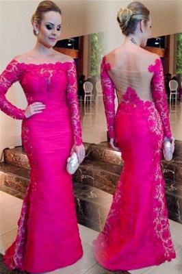 Newest Fuchsia Long Sleeve Mermaid Evening Dress UK Lace Off-the-shoulder_1