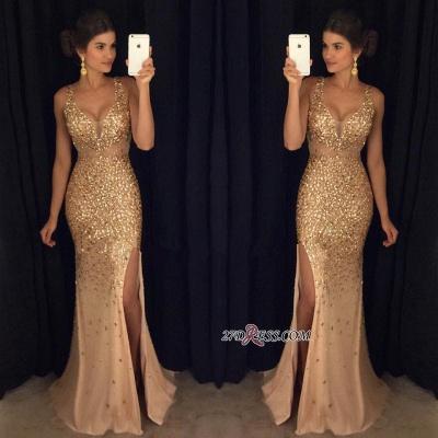 Sleeveless Front-Split Luxury Long Straps Mermaid Crystals Prom Dress UK AP0 sp0229_2