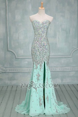 Sweetheart Sleeveless Long Chiffon Evening Dress UK With Beadings and Crystals_1