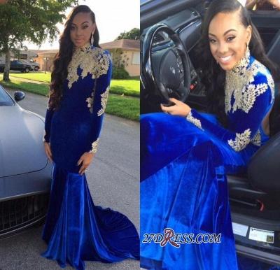 Appliques Sexy Royal-Blue Mermaid High-Neck Long-Sleeves Prom Dress UK BK0_1