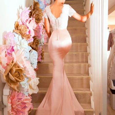 Luxury Short-Sleeve Prom Dress UK | Lace Mermaid Bridesmaid Dress UK On Sale_4
