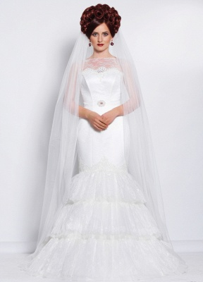 Elegant Illusion Sexy Mermaid Tiered Wedding Dress With Lace_1