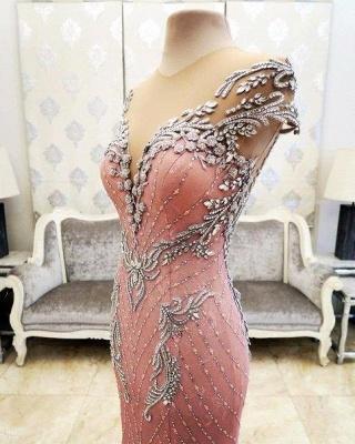Luxurious Crystal Pink Mermaid Evening Dress UK Zipper Button Back_6
