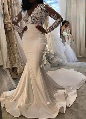 Lace Trumpet/  Sexy Mermaid Wedding Dresses UK | White Chic Wedding Dress_1