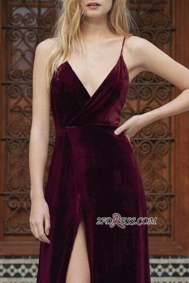 Side-Slit Velvet Maroon Elegant Spaghettis-Straps A-line Evening Dress UK_2