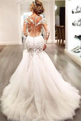 Elegant Long Sleeve Lace Wedding Dress Tulle Sexy Mermaid Zipper Button Back_4