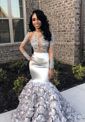 Silver Long Sleeve Prom Dress UK | Formal Gowns With Flowers Bottom BA8990_1
