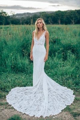 Stunning V-Neck Sleeveless Wedding Dress Full Lace With Train_1