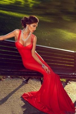 Elegant Red Mermaid Straps Prom Dress UK Sweep Train Sleevless Sweetheart_1