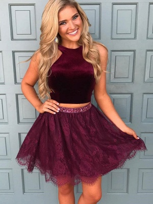 Beautiful Two Pieces Burgundy Lace Homecoming Dress UK Short With Sequins BA7014_1