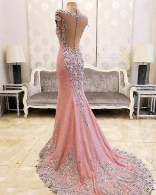 Luxurious Crystal Pink Mermaid Evening Dress UK Zipper Button Back_3