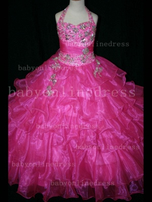 Beaded Cheap Pageant Dresses for Girls Very Online Crystal Organza Floor-length Gowns Stores_4