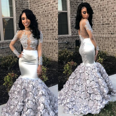 Silver Long Sleeve Prom Dress UK | Formal Gowns With Flowers Bottom BA8990_3