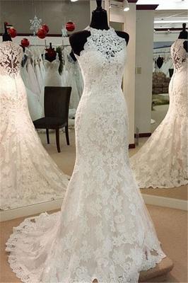 Retro High Neck Sexy Mermaid Lace Wedding Dresses UK Sleeveless Vintage Bridal Dress BA3705_1