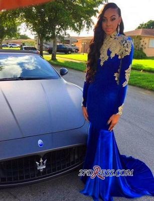 Appliques Sexy Royal-Blue Mermaid High-Neck Long-Sleeves Prom Dress UK BK0_3