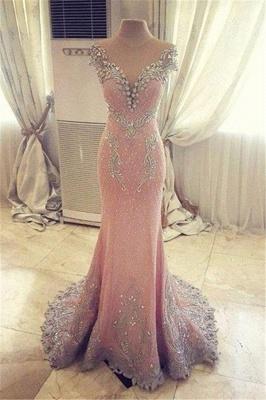 Luxurious Crystal Pink Mermaid Evening Dress UK Zipper Button Back_1