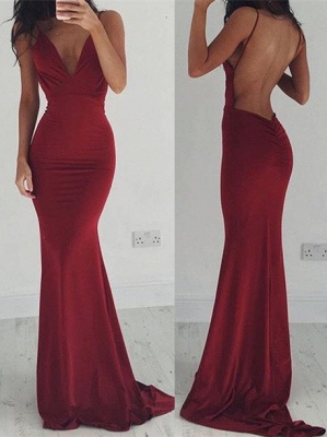 Sexy Burgundy Open Back Prom Dress UKes UK Mermaid On Sale CT004_3