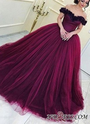 Long Sleeveless Ball-Gown Off-the-Shoulder Tulle Appliques Prom Dress UKes UK_2