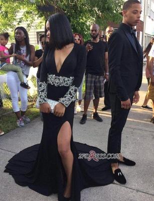 Black Elegant Split Long-Sleeve Crystal V-Neck Prom Dress UK_3