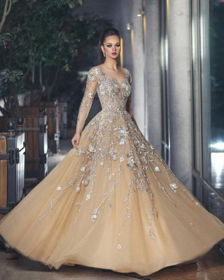 Gorgeous Long Sleeve Evening Dress UK Tulle With Lace Appliques BA8501_1