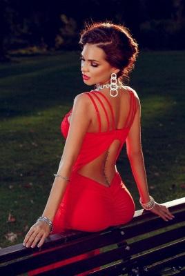 Elegant Red Mermaid Straps Prom Dress UK Sweep Train Sleevless Sweetheart_4