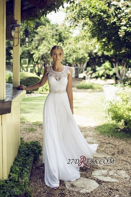 Sleeveless Lace  Long Beach Summer Elegant Wedding Dress_3