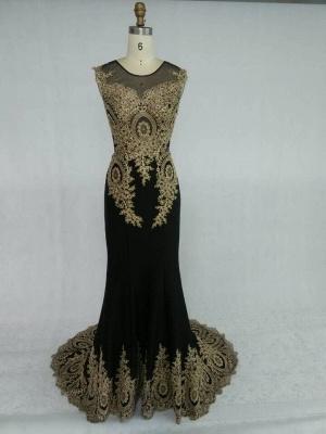Gorgeous Elegant Black Long Sleeve Appliques Evening Dress UK_6