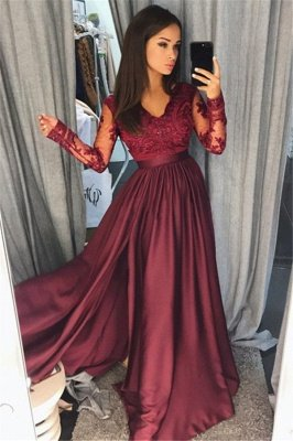 Maroon Burgundy Long Sleeve Prom Dress UK Lace With Split_1