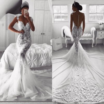 Gorgeous Sweetheart Lace Wedding Dress   2019 Sexy Mermaid Bridal Gowns_4
