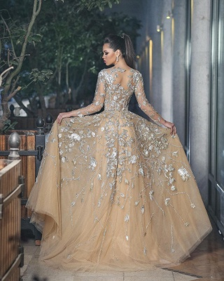 Gorgeous Long Sleeve Evening Dress UK Tulle With Lace Appliques BA8501_3