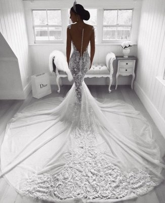 Gorgeous Sweetheart Lace Wedding Dress   2019 Sexy Mermaid Bridal Gowns_3