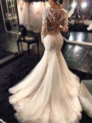 Elegant Long Sleeve Lace Wedding Dress Tulle Sexy Mermaid Zipper Button Back_1