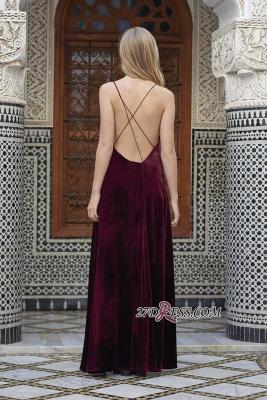 Side-Slit Velvet Maroon Elegant Spaghettis-Straps A-line Evening Dress UK_1
